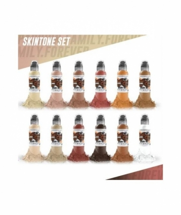 SKIN TONE SET 12x30ml by WORLD FAMOUS TATTOO INK