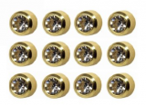 CAFLON BLU GOLDPLATED BLACK DIAMOND STONES 12 PAIRS
